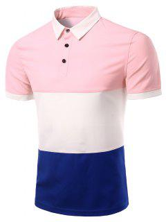 Stylish Stripes Turn-down Collar Color Block  Short Sleeves Polo T-Shirt For Men - Pink M