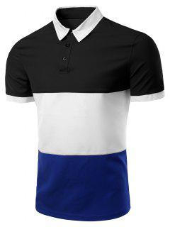 Stylish Stripes Turn-down Collar Color Block  Short Sleeves Polo T-Shirt For Men - Black M