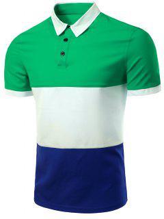 Rayas Elegantes Turn-down Collar Del Bloque Del Color De Manga Corta De La Camiseta Del Polo Para Los Hombres - Verde 2xl