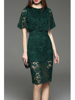 Sheath Lace Pencil Dress - Blackish Green S