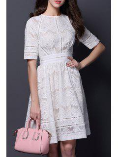 Sheath Cut Out Lace Dress - White S