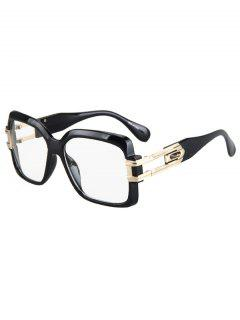 Hollow Alloy Quadrate Frame Sunglasses - Black