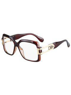 Hollow Alloy Quadrate Frame Sunglasses - Tea-colored