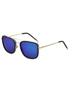 Black Frame Golden Alloy Sunglasses - Deep Blue