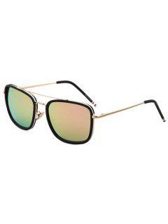 Black Frame Golden Alloy Sunglasses - Pink