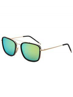 Black Frame Golden Alloy Sunglasses - Green