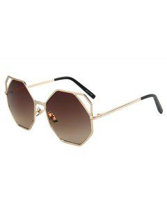 Hollow Out Polygonal Frame Golden Sunglasses - Tea-colored