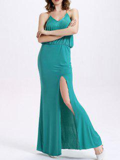 High Slit Cami High Waisted Formal Maxi Dress - Mint Green M