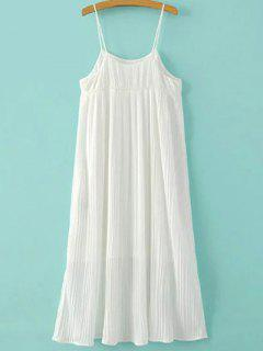 Pleated Empire Waist Strap Dress - White