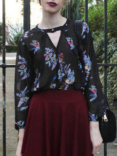 V-Neck Colored Floral Print Long Sleeve Shirt - Black Xl
