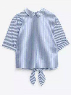 Striped Turn Down Collar Manches Courtes Tie Auto Shirt - Rayure M