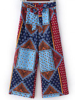 Ethnic Print Self Tie Wide Leg Pants - S