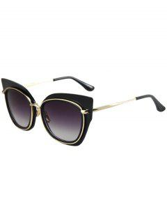 Alloy Match Cat Eye Frame Sunglasses - Black