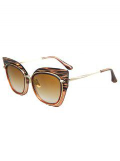 Striped Cat Eye Frame Sunglasses - Tea-colored