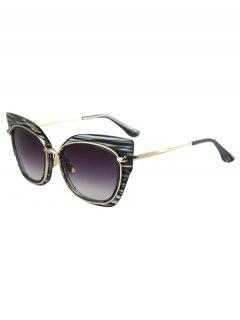 Striped Cat Eye Frame Sunglasses - Black
