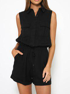 Solid Color Turn Down Collar Sleeveless Romper - Black S