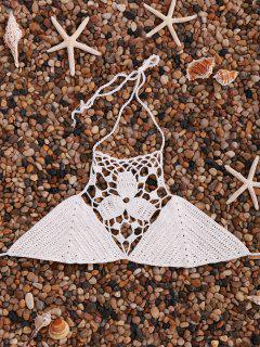 Solid Color Cut Out Halter Crochet Bra - White