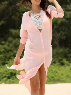 Solid Color Pockets Stand Neck 3/4 Sleeve Dress - Shallow Pink Xl