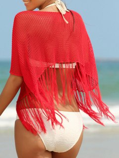 Scoop Neck Fringed Openwork Cover-Up - Red
