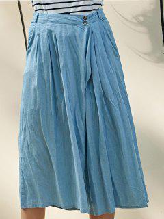 Hip Pockets Pleated Skorts - Light Blue S