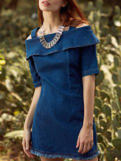 Flounce Ruffles Straps Half Sleeve Cold Shoulder Dress - Cadetblue S
