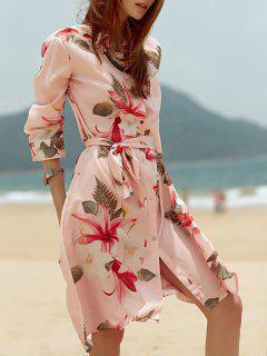Shirt Collar Tropical Print Belted Dress - Pink L