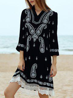 Paisley Bordado Vestido A Media Pierna - Negro L
