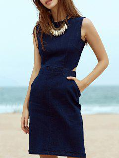Blue Denim Round Neck Sleeveless Cut Out Dress - Deep Blue L