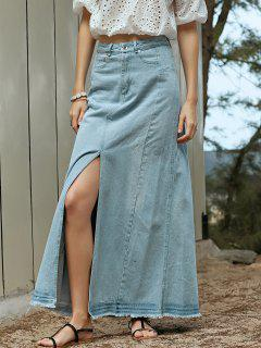 Denim Slit High Waisted Skirt - Light Blue L