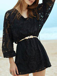 Crochet Flower Waisted Lace Dress - Black S