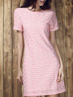 Stripe Short Sleeve A Line T-Shirt Dress - M