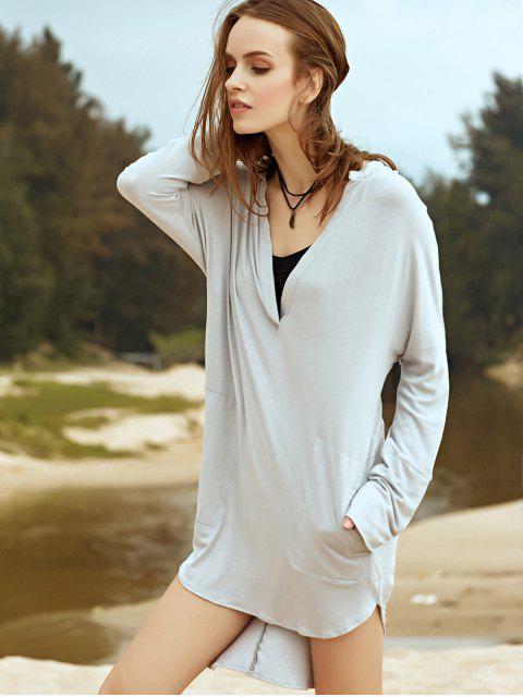 latest Low Cut Long Sleeve Plunge Dress - LIGHT GRAY L Mobile