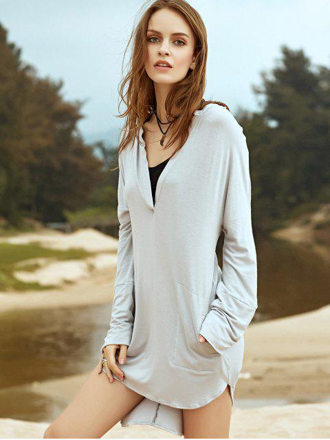 fashion Low Cut Long Sleeve Plunge Dress - LIGHT GRAY S Mobile