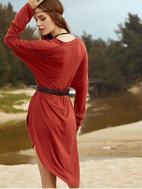hot Low Cut Long Sleeve Plunge Dress - BROWN L Mobile