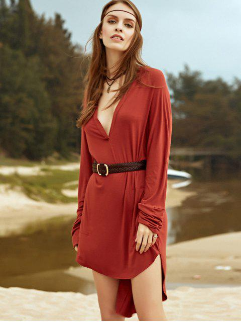 outfit Low Cut Long Sleeve Plunge Dress - BROWN M Mobile
