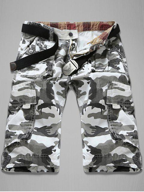 sale Trendy Loose Fit Men's Multi-Pockets Camo Printed Cargo Shorts - WHITE 32 Mobile