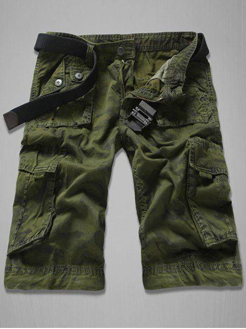 ladies Fashion Loose Fit Men's Multi-Pockets Camo Printed Cargo Shorts - ARMY GREEN 34 Mobile