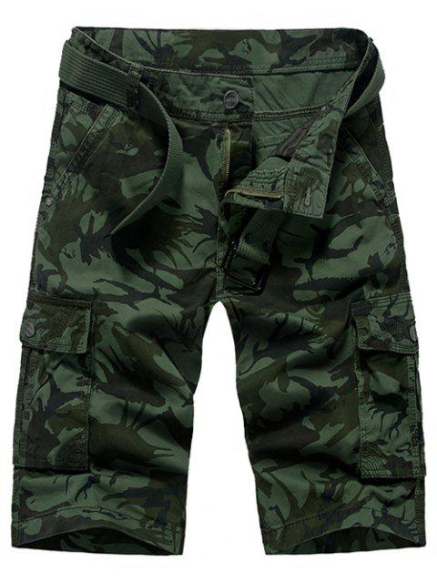 Fashion Loose Fit Men 's Camo Imprimé Cargo Shorts - Vert Armée  29 Mobile