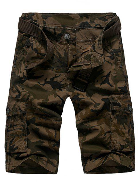 Moda suelta Fit Men  's impresos Camo Cargo Shorts - Café 30 Mobile