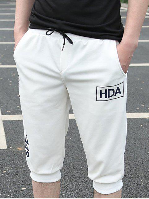 Beiläufige lose Fit Lace Up Solid Color Shorts für Männer - Weiß M Mobile