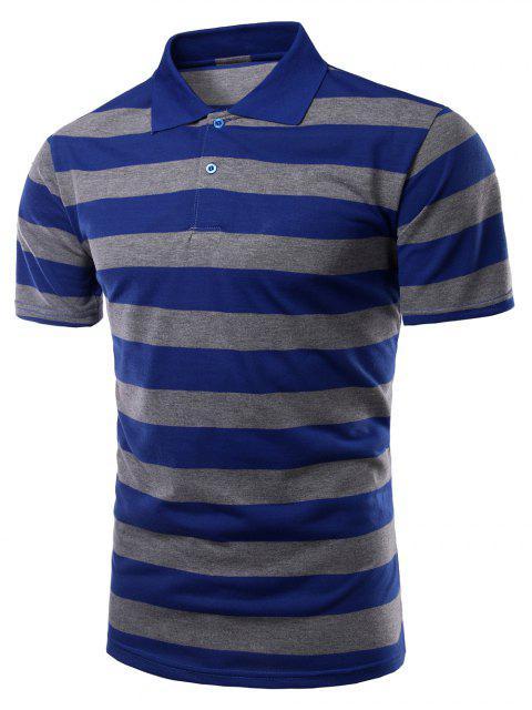 Stripes Turn-down-Kragen mit kurzen Ärmeln Polo-T-Shirt für Männer - Blau L Mobile