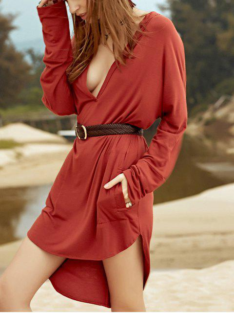 new Low Cut Long Sleeve Plunge Dress - BROWN XL Mobile