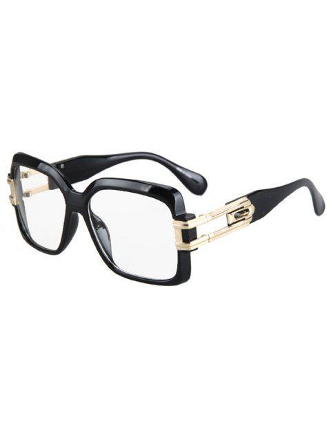 lady Hollow Alloy Quadrate Frame Sunglasses - BLACK  Mobile