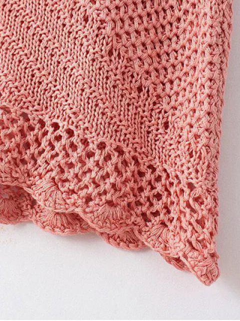 shops Backless Halter Solid Color Crocheted Dress - PINK L Mobile