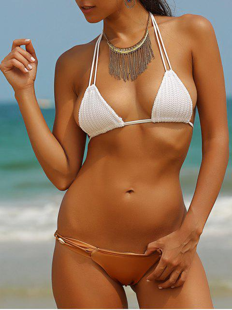 affordable Crocheted Spaghetti Straps Shell Embellished Bikini Set - WHITE XL Mobile