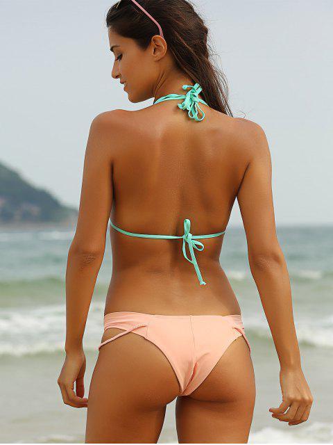 buy Hit Color Halterneck Self-Tie Bikini Set - LIGHT GREEN L Mobile