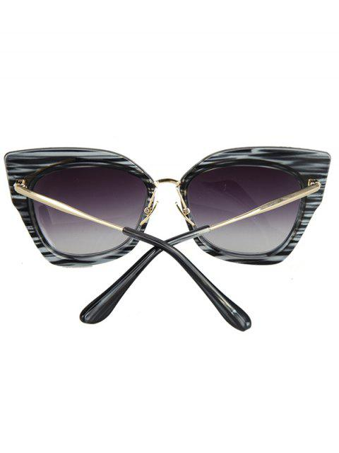 outfit Striped Cat Eye Frame Sunglasses - BLACK  Mobile