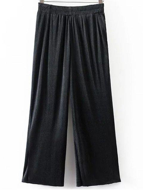 women Pleated Elastic Waist Wide Leg Pants - BLACK M Mobile