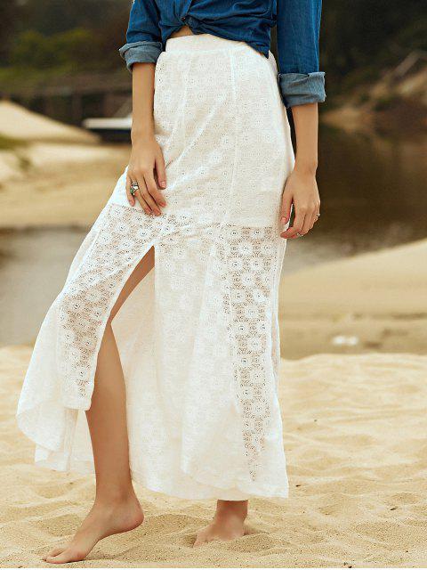 unique High-Low Hem Solid Color Lace Spliced Skirt - WHITE M Mobile