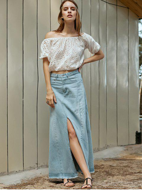 fashion Denim Slit High Waisted Skirt - LIGHT BLUE M Mobile